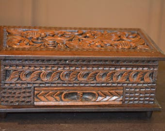 Jewelry Box, Hand Carved Wood