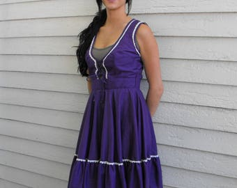 Purple Dirndl Dress Square Dance Country Maid Folk Vintage Western S