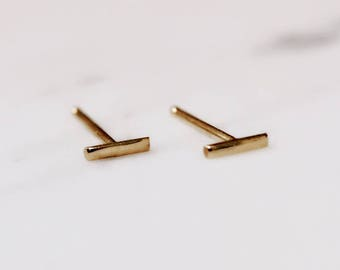 Solid 10K Tiny Gold Line Studs, Square Bar Studs, 10k Rose Gold, 10k Yellow Gold, Straight Studs, 5 mm, Stick Earring, Real Gold