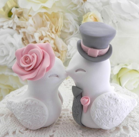 Wedding Cake Topper, Love Birds, White, Rose Pink and Grey, Bride and Groom Keepsake