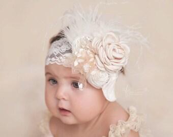 rosette baby headband, feather headband, lace vintage girls headband, newborn headband, infant girls headband, baby, champagne headband