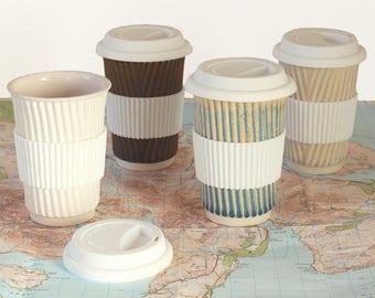 Reusable mug fathers day travel mug tea cup with lid ceramic cup ceramic mug eco friendly coffee travel mug 30th birthday commuter mug eco