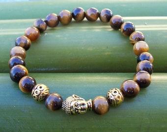 Mens bracelet, Men's bracelet, Man's bracelet, Tiger eye bracelet, Buddha Bracelet, gift, for him, Spiritual bracelet, Buddha's head