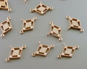 2 pcs rose gold diamond shaped CZ pave connectors with 3 loops, Cubic Zirconia pave pendants in rose gold C2074-BRG