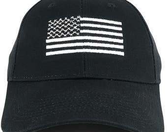 American Flag Embroidered Low Profile Structured Baseball Cap (SFLCNE-BLK)