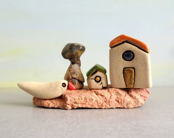 Ceramic sculpture, Ceramics and pottery, Miniature house, Beach house, Ceramic bird, Rustic home decor, Cute office decor, Housewarming gift