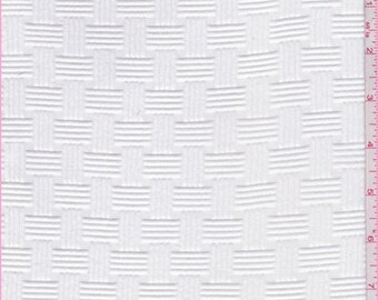 White Basketweave Jacquard Knit, Fabric By The Yard