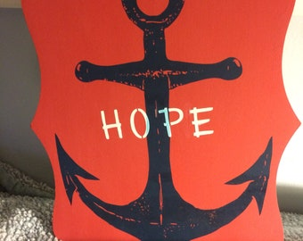 Red & Navy Blue Hope Anchor Painting