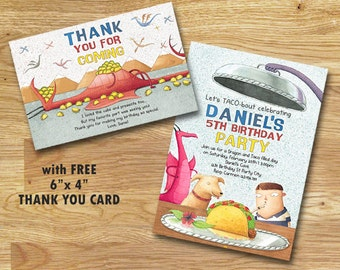Dragons Love Tacos Birthday Party Invitation // FREE Thank you Card // Digital File Only