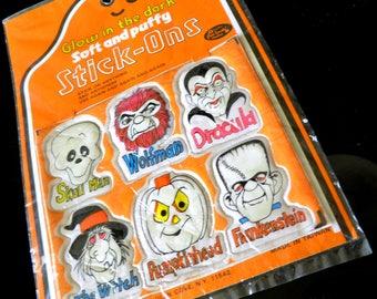 1980s Fun World Halloween Puffy Stickers--Original Package--Skeleton, Wolfman, Dracula, Witch, Pumpkin & Frankenstein--Glow-in-the-Dark