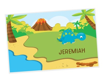 Dinosaur Personalized Placemat - Dinosaur Volcano Island Trees with Name, Customized Laminated Placemat
