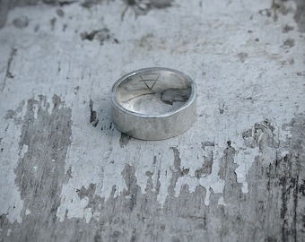 TOKEN II Solid sterling silver hand-forged unisex statement ring with heavily textured minimalist design