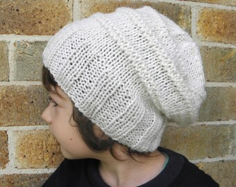 Slouchy hat toddler children child beanie cream white winter slouch 2T-5T years old  hand knit beanie boy girl preschooler CHOOSE COLOUR