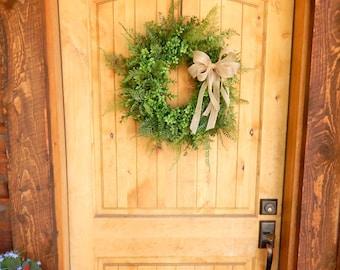 BOXWOOD Wreath-Fern Wreath-Summer Wreath-Fall Wreath-Outdoor Wreath-Year Round Wreath-Farmhouse Decor-Country Cottage Wreath-Made USA-Gift