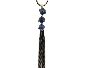 Fashion square blue crystal tassel necklace