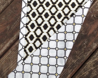 Black, White and Gold Elegant Table Runner With Coordinating Wrap Around Backer - Wedding Gift