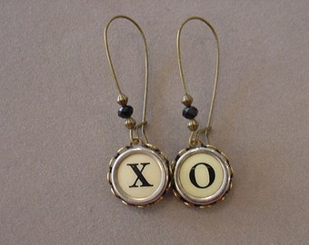 Bronze Typewriter Key Jewelry Earrings X O HUGS and KISSES Brass Cream Typewriter Key Earrings recycled jewelry steampunk
