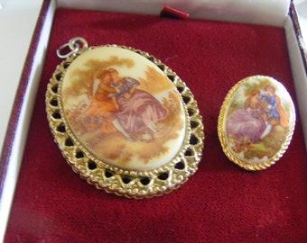 Pretty Vintage Pendant Plus Lovely Vintage Brooch