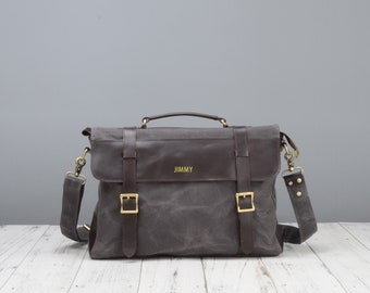 Personalised waxed canvas and leather messenger bag in Grey