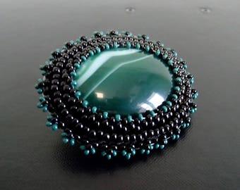 Green Agate Brooch, Bead embroidered Brooch, Black Brooch, Beadwork Brooch , Handmade Jewelry