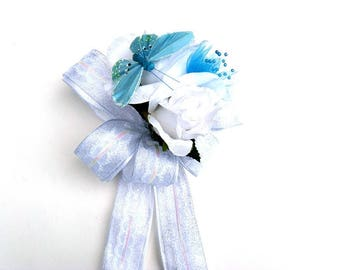 Blue butterfly wedding bow, Wedding gift for brides, Wedding shower bow, Bridal shower decoration, Bow for presents, Gift wrap accessory
