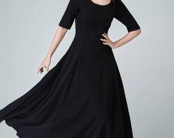 A line dress, maxi dress, black linen dress, womens dresses, little black dress, linen summer dress, fit and flare dress, fitted dress 1467