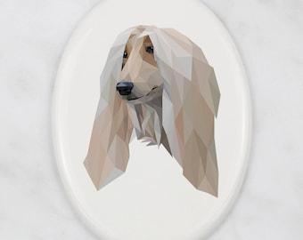 A ceramic tombstone plaque with a Afghan Hound dog. Art-Dog geometric dog