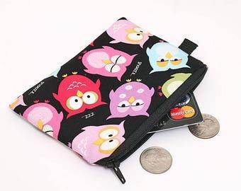 Small Makeup Pouch, Women's Cute Wallet, Owl Coin Purse, Black Zipper Pouch, Padded Change Wallet - sleepy owls in black