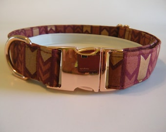 Burgundy and Rose Gold Arrows Dog Collar with Rose Gold Metal Buckle