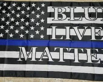 Thin Blue Line Law Enforcement American Flag 3'X5'