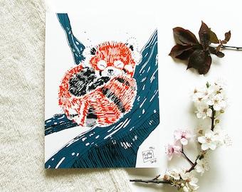 Screen printed - Red Panda