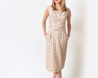 1950s Embroidered Beige Linen Sheath Dress 50s Vintage 28 S M