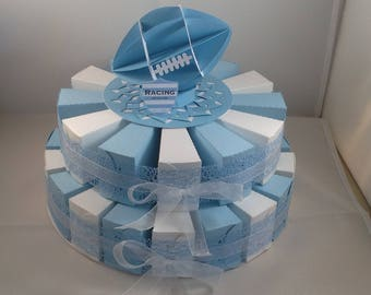 30 boxes favors rugby theme cake
