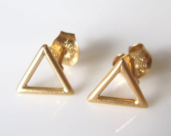 Open Triangle Stud Earrings- Sterling Silver Tiny Triangle Earrings- Triangle Studs- Gold Vermeil Triangle Post Earrings EGS-SD14