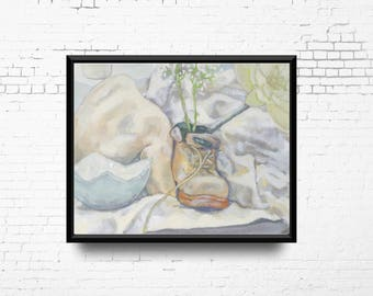 OOAK Oil Painting, Original Still Life Oil Painting, Shoe, Flowers and Bowl, Bright Painting, Ready to Ship
