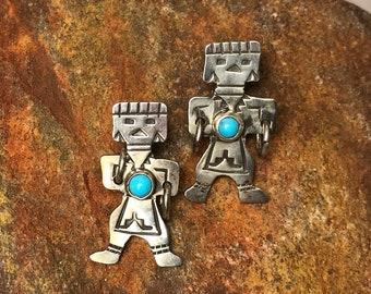 Vintage Native American Turquoise & Sterling Silver Hoop Dancer Kachina Post Earrings