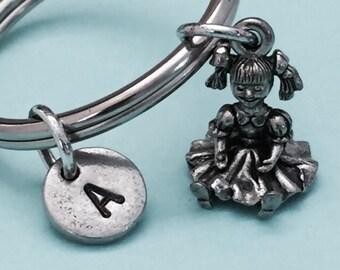 Doll keychain, doll charm, toy keychain, personalized keychain, initial keychain, initial charm, customized keychain, monogram