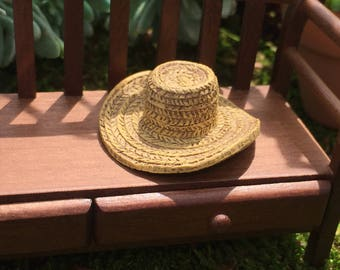 Miniature Hat, Garden Straw Look Hat, Dollhouse Miniature, Miniature Garden, Fairy Garden Accessory, Mini Poly Resin Straw Hat, #8608