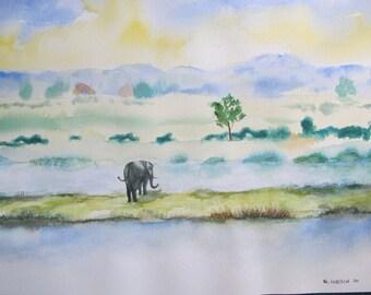 Watercolor elephant in wet landscape