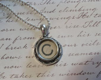The Letter C Vintage Typewriter Key Pendant Necklace