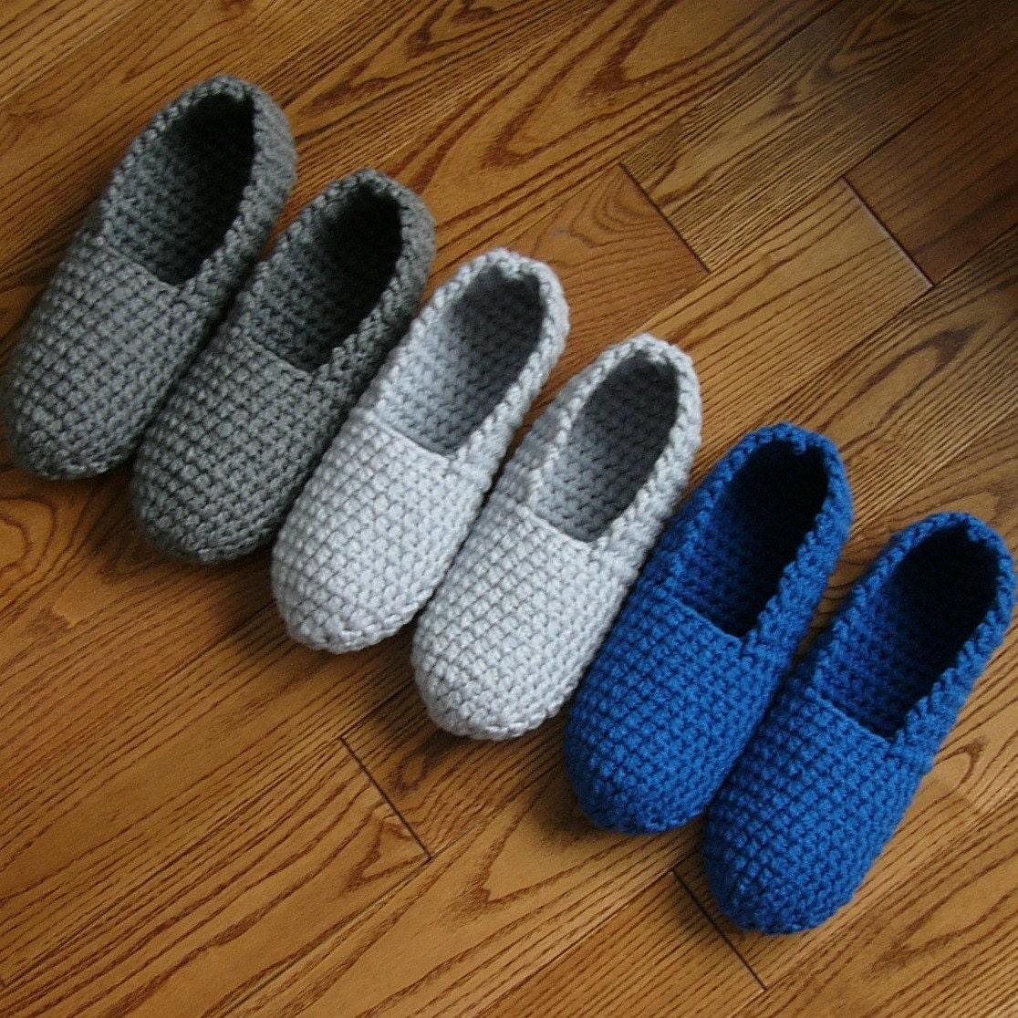 Crochet Pattern Mens Slippers Men Man basic pure simple easy house ...