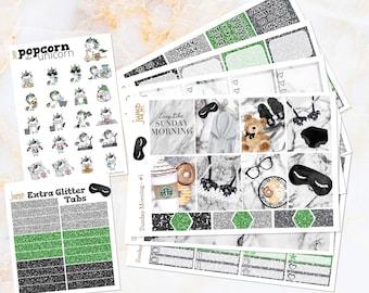 Sunday Morning neutral marble weekly set / kit stickers -for Erin Condren VERTICAL Planner - lingerie glitter summer watercolor