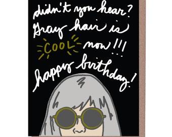 Gray Hair Birthday Card