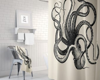 Octopus Shower Curtain Optional Bath Mat