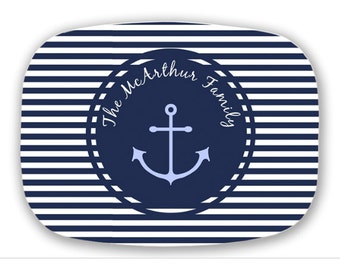 Personalized serving tray custom monogram melamine  Nautical Navy  Choose colors