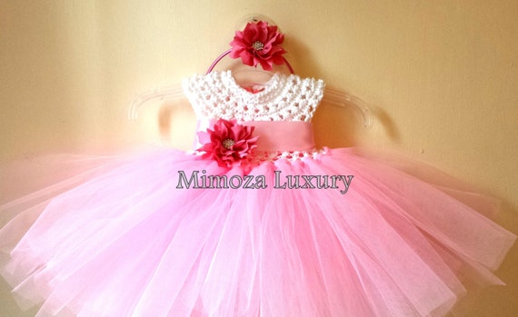 Flower girl dress,baby  tutu dress,bridesmaid dress, princess dress, crochet top tulle dress, hand knit top tutu dress