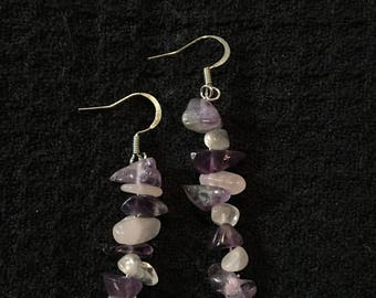 Amethyst and pink quartz earrings