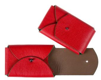 Card holder. Red leather card holder. Credit card holder. Business card holder.