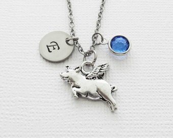 Flying Pig Necklace, Pig Jewelry, When Pigs Fly, BFF, Swarovski Birthstone, Personalized, Monogram, Hand Stamped, Silver Letter Initial