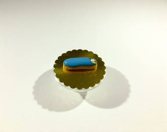 Miniature Flash turquoise glaze and decoration of polymer clay gold leaf